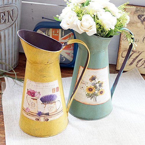 VANCORE(TM) Nostalgia Style Shabby Chic Larger Metal Pitcher Vase for Flowers Decoration 2