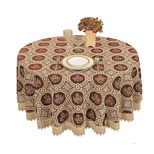Vintage Elegant Beige Round Lace Tablecloth Linen Embroidered Flower Burgundy Translucent Gauze Customer Order (round 70 by 70 inch)