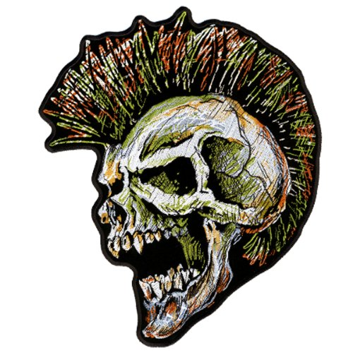 Hot Leathers Rock N' Roll Mohawk Skull Patch (4