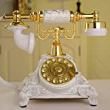 HTDZDX Antique Telephone Resin Imitation Copper Vintage Rotary Retro Old Fashioned Rotary Dial Home and Office Telephone Phone Home Living Room Decor