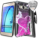 Galaxy On5 Case With TJS® Tempered Glass Screen Protector, Dual Layer Hybrid Shock Absorbing Impact Resist Rugged Kickstand Armor Case with Belt Clip Holster For Samsung Galaxy On5/G550 (Purple Love)