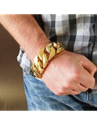 24k GOLD Plated ★ 30mm Wide ★ 299g Massive Stainless Steel Bracelet for men - Top Quality 316L Surgical - Heavy...