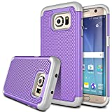 S7 Edge case, Kaptron Galaxy S7 Edge - Double Tone Dual Layer Hybrid Defender Case for Samsung Galaxy S7 Edge (Purple + Grey)
