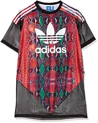 Adidas–Maglia lunga da donna, stile maglia da calcio, Donna, Kleid Soccer Tee, Black/Multicolor, 38