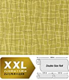 Wallpaper abstract net texture 3D non-woven luxury EDEM 972-38 curved lines mustard green gold 10,65 sqm (114 sq ft)