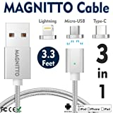 USB Type C Cable,Magnetic Charger Cable MAGNITTO USB to Lightning+USB C+Micro 3 in 1 Multiple 2.4A Quick USB Charging Cable for iPhone 7 7 plus/ 6 6s Plus/iPad Samsung Galaxy S6 S7 S8 plus Lg V20 Gen2 (Color: 3 in 1 - Lightning, Micro USB, Type C)