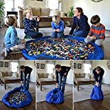 Edeal-YN® Diameter 60 Inch Portable Kids Children Infant Baby Play Mat Large Storage Bags Toys Organizer Blanket Rug Boxes for Lego Toys(Blue)
