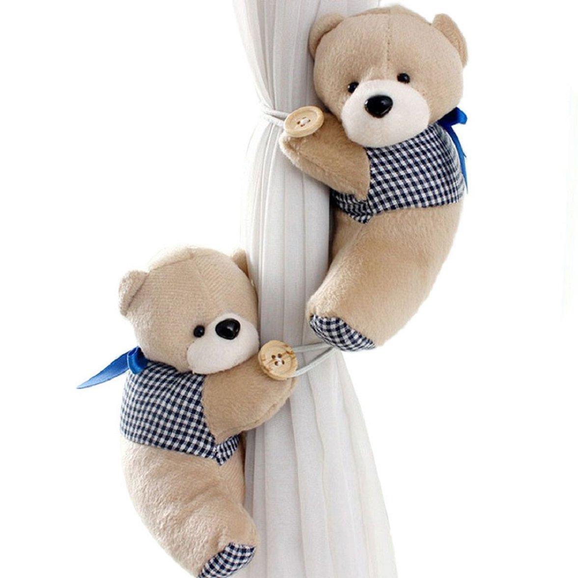 Culater® 1 Paar Bär Winnie Karikatur Vorhang Raffhalter Schnalle Spannhaken Verschluss Curtain Tieback (grau)