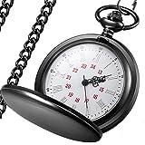 LYMFHCH Classic Smooth Vintage Quartz Pocket Watch, Roman Numerals Scale Mens Womens Watch with Chain (Grey)
