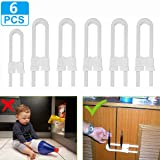 LudoPam Sliding Cabinet Locks, U Shaped Child Safety Latch for Knobs and Handles 6 Pack White (Color: White)