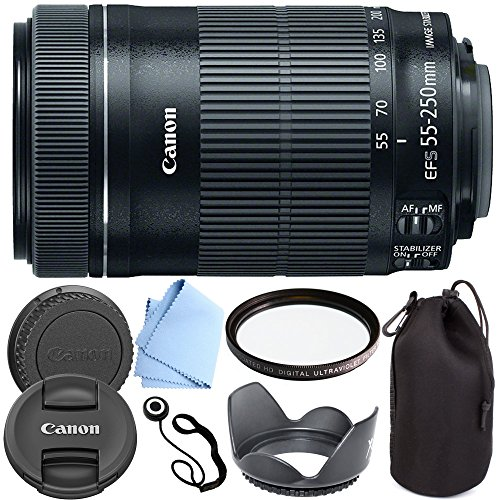 Canon EF-S 55-250mm F4-5.6 IS STM - International Version (No Warranty) Zoom Lens for for Canon EOS 7D, 60D, EOS Rebel SL1, T1i, T2i, T3, T3i, T4i, T5i, XS, XSi, XT, XTi Digital SLR Cameras + Shop Smart Deals Deluxe Kit 55-250mm STM (Canon Long Range Lens compare prices)