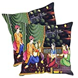 Sleep nature's Mughal Kings and Queens Painting Printed Cushion Covers Pack of 2