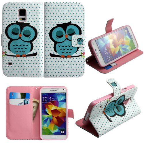 Harryshell Classical Sleeping Owl Design Phone Case Leather Wallet Case Stand Cover For Samsung Galaxy S5(A2)