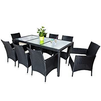TecTake Salon de jardin 8+1 TABLE DE JARDIN EN RESINE ...
