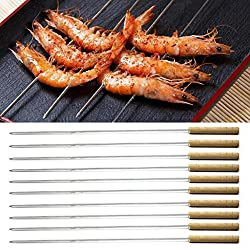 Anne -Kee Skewers Stainless Steel Bbq Stick For Tandoor Barbeque Needles Rod Wooden Handle 16 Inches -5 Nos