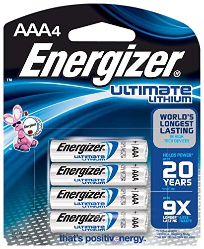 Energizer Ultimate Lithium AAA Batteries, World's Longest-Lasting AAA Battery in High-Tech Devices (4 pack) (Aa Lithium Batteries compare prices)