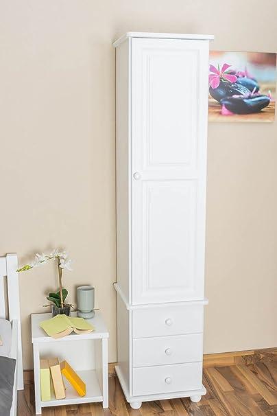 Schrank Kiefer massiv Vollholz weiß Junco 44 - Abmessung 195 x 45 x 42 cm
