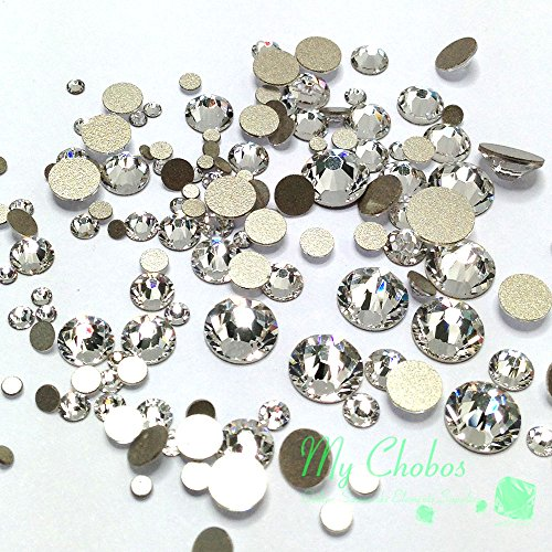 SWAROVSKI clear CRYSTAL (001) 144 pieces 2058/2088 Crystal Flatbacks rhinestones nail art mixed with Sizes ss5, ss7, ss9, ss12, ss16, ss20, ss30 **FREE Shipping from Mychobos (Crystal-Wholesale)** (Swarovski Crystal Nail Art compare prices)