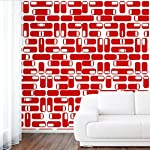 DeStudio Oval Square Tile Chalkboard Wall Decal, Size SMALL & Color : RED