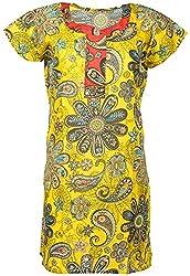 Anshul Textile Women's Cotton Regular Fit Kurta (Yellow)