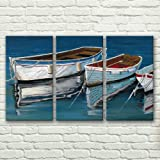 100% Hand-painted Best-selling Quality Goods Free Shipping Wood Framed on the Back Disney's Sailing High Q. Wall Decor Landscape Oil Painting on Canvas 4pcs/set Mixorde
