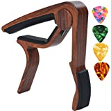 Sound harbor MA-12 Capo Guitar Capo for Acoustic and Electric Guitars, Zinc Alloy- Quick Change Guitar Capo & Free 4 Pick ( RoseWood Color 1 ) (Color: MA-12 RoseWood Color, Tamaño: Rosewood)