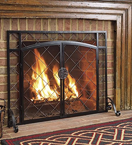 "Find Bargain 44""W x 33""H 2-Door Celtic Knot Flat Fire Screen, in Pewter"