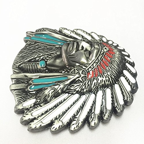 3d Native American Old West Indian Warrior Chief Belt Buckle Biker Motorcycle Vintage Silver 4