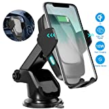 Wireless Car Charger Mount, Cshidworld Qi Fast Car Wireless Charger 10W/7.5W/5W Auto Clamping Dashboard Air Vent Car Phone Holder Compatible with Galaxy S10/S10+/S9/S9+/S8/S8+ iPhone Xs/Xs Max/XR/X/8 (Color: New-black)