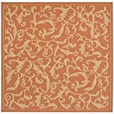"Safavieh Courtyard Collection CY2653-3202 Terracotta and Natural Square Area Rug, 7 feet 10 inches by 7 feet 10 inches Square (7'10"" x 7'10"" Square)"