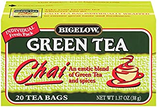 Bigelow Green Tea Chai 20-Count Boxes Pack of 6