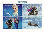 Disney Movie Frozen collectible miniature mint sheet of 4 stamps with Elsa, Olaf, Anna and Kristoff / 2014 / Chad