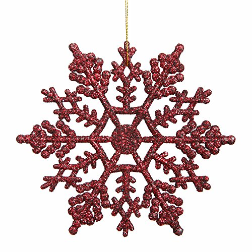 "Vickerman M101505 Glitter Snowflake in 12/PVC Box, 6.25"", Burgundy"
