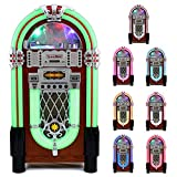 Retro Vintage Jukebox 1950's Rock & Roll Style LED Lighting / CD Player, AM/FM Radio, SD/MMC memory cards, Bluetooth, USB, AUX...