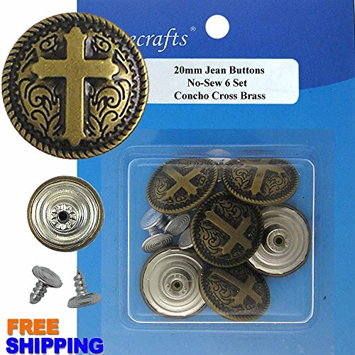 20 mm No-Sew Jean Tack Buttons Concho Cross Brass CT. 6 Buttons