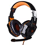 JinSun G2000 Gaming Headset Headphone Stereo Over-ear Game Bass Headset Headband Earphone with Mic and LED Light for PS4 Laptop PC Tablet Smartphones (Orange)