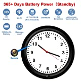 WiFi Security Camera Clock Fuvision Battery Camera Wall Clock with Adjustable Camera Lens, 365 Days Battery Life, Remote Live View, Motion Detect, Loop Record Covert Cam for Home Security(Video Only!) (Color: Black Clock)