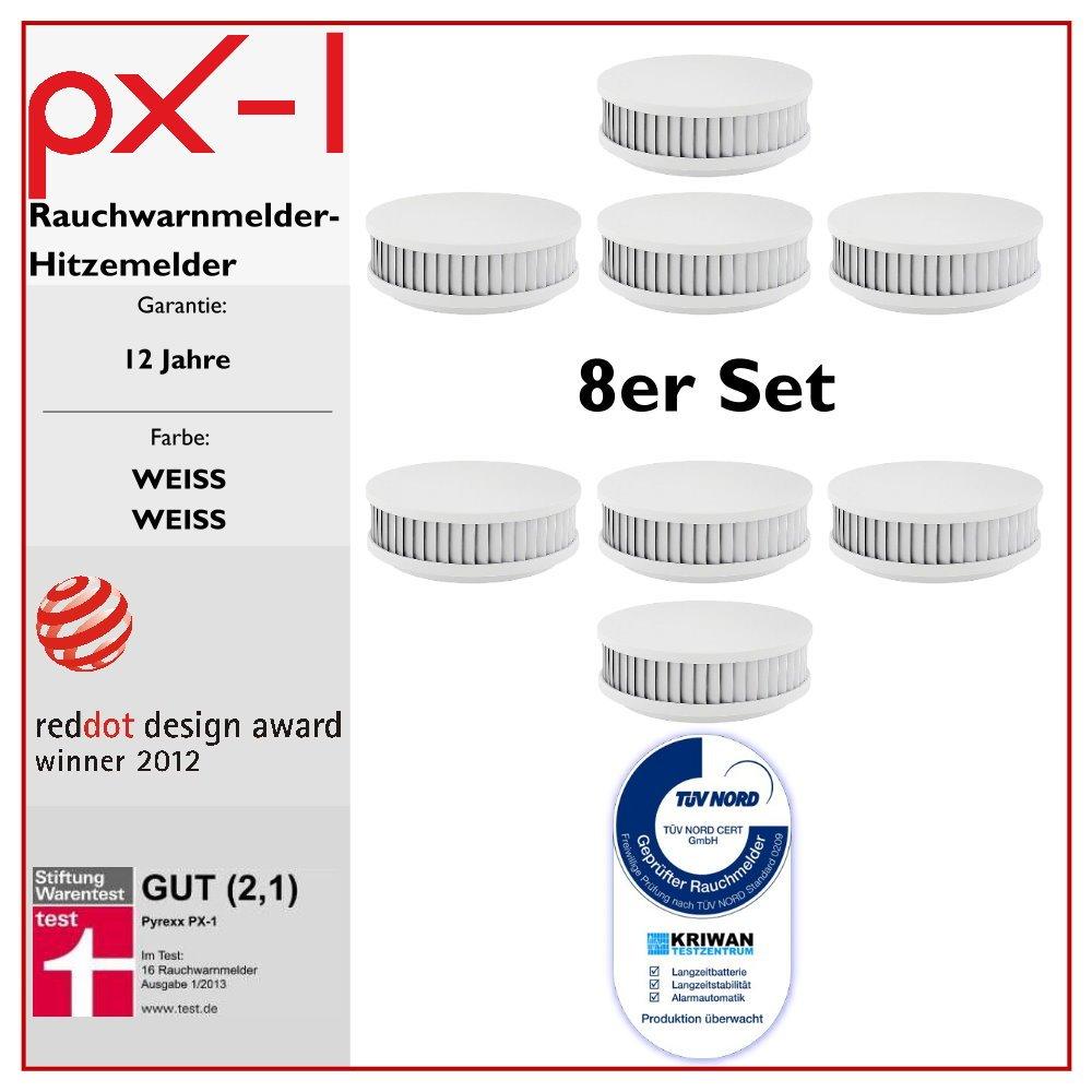 8er Set  PX1 Rauchwarnmelder / Hitzemelder (weiß/weiß) 12 Jahre Garantie, mit TÜVQualitätssiegel  BaumarktKundenbewertung und Beschreibung