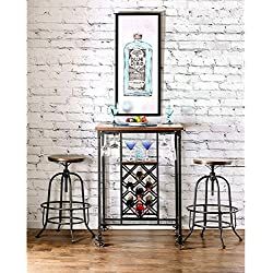 Furniture of America Daimon Industrial Bar Table with Wine Rack