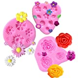Flower Fondant Molds Mini Flower Silicone Mold Flower Daisy Mold Roses Flower Mold Flower Chocolate Molds DIY Cake Decorating Sugarcraft Baking Tool Accessories Molds (3 Pack Flower Mold)