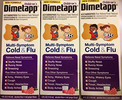 Dimetapp For Children - Multi-Symptom Cold & Flu - Red Grape Flavor - Net Wt. 4 FL OZ (118 mL) Each - Pack of 3 (Dimetapp Grape compare prices)