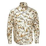 Relco Cream/Brown L/S Button Down Mod 60's 70's Retro Floral Print Shirt S- XXL