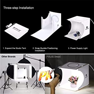 Photography Light Box, Small Product Backdrop,Mini Table Top Light Box,Dimmable Portable Folding Photography Studio Box,with Annular LED Board, 6 Backdrops (Color: White, Tamaño: Mini Dimmable(9.4x9.1x8.7))
