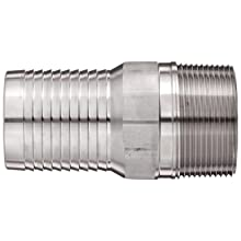 "Dixon RST30 Stainless Steel 316 Hose Fitting, King Combination Nipple Threaded End with No Knurl, 2-1/2"" NPT Male x 2-1/2"" Hose ID Barbed"