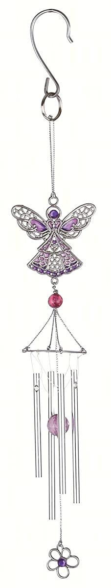 Carson Home Accents CHA63156 Pewterworks Angel Crystal Wind Chime