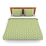 """Kess InHouse Holly Helgeson """"Flutterby"""" Yellow Lime King Fleece Duvet Cover, 104 by 88-Inch"""