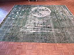 10 x 12 HAND KNOTTED LIGHT GREEN OVERDYED MOON PERSIAN ORIENTAL RUG G3379