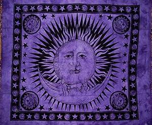 "Celestial Tapestry Bedspread Throw Coverlet Versatile 82"" x 92"" Purple"
