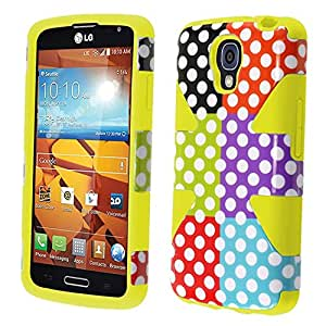 HR Wireless Dynamic Slim Hybrid Cover Case for LG Volt LS740/F90 - Retail Packaging - Colorful Polka Dots/Yellow