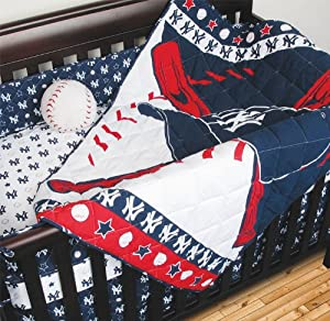 MLB New York Yankees Crib Bedding - 4pc Baseball Baby Quilt Bed-in-Bag by Sports Coverage